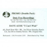 DAVE AUDE - I CAN'T WAIT (DOUBLEPACK) - 2x12