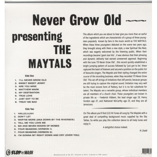 The Maytals - Never Grow Old - Vinyl - LP