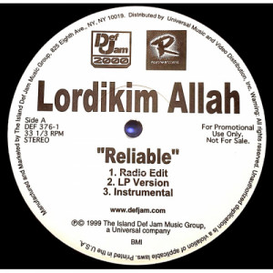 Lordikim Allah - Reliable [Record] - 12 Inch 33 1/3 RPM - Vinyl - 12""