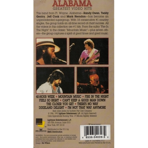 Alabama - Greatest Video Hits  - VHS - VHS