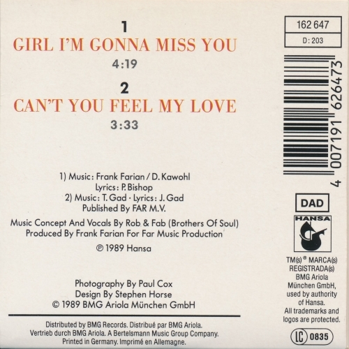 Milli Vanilli - Girl I'm Gonna Miss You - CD - Single