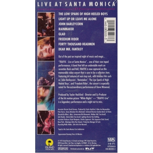 Traffic - Live At Santa Monica '72 - VHS - VHS