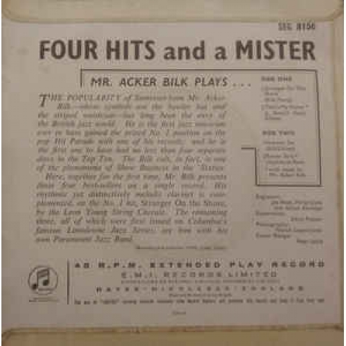 Acker Bilk -  Four Hits And A Mister - Vinyl Record - EP