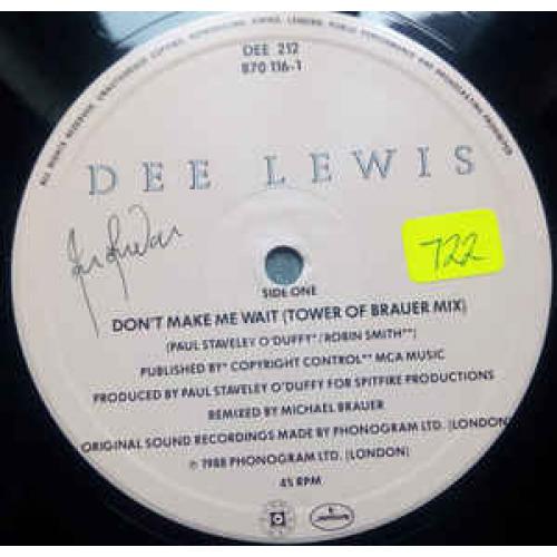 """Dee Lewis - Don't Make Me Wait - Vinyl - 12"""""""