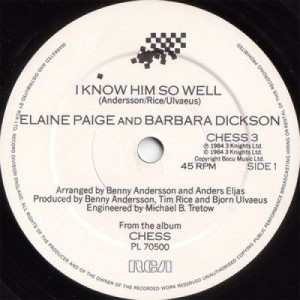 Elaine Paige And Barbara Dickson - I Know Him So Well - 7''- Single - Vinyl - 7""