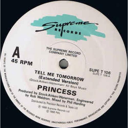 "Princess - Tell Me Tomorrow - Vinyl - 12"""