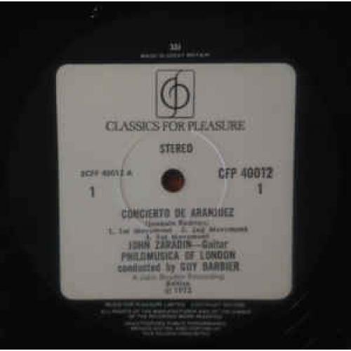 Rodrigo,John Zaradin,Philomusica Of London,Guy Bar - Concierto De Aranjuez For Guitar And Orchestra - Vinyl - LP