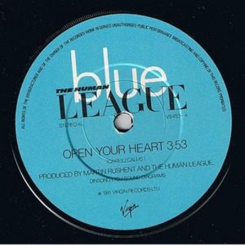 The Human League - Open Your Heart - 7''- Single, Sol - Vinyl - 7""