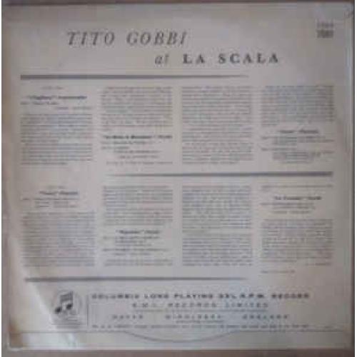 Tito Gobbi  - Tito Gobbi At La Scala - Vinyl - LP
