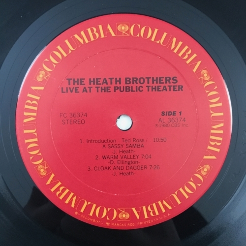 The Heath Brothers - Live At The Public Theater - Vinyl - LP