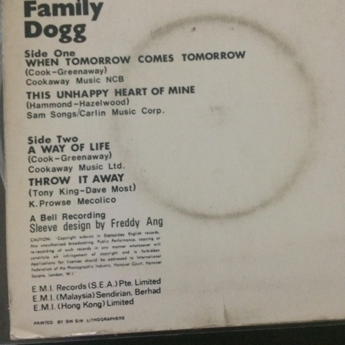 FAMILY DOG MALAYSIA PRESS  - 45RPM  - Vinyl - 7""
